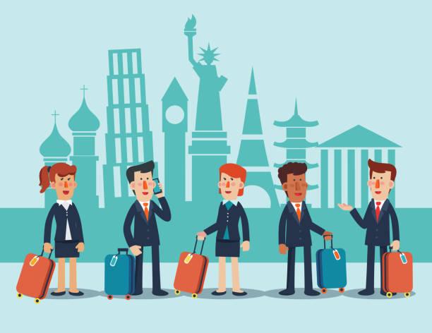 ilustraciones, imágenes clip art, dibujos animados e iconos de stock de gente de negocios con las maletas delante de los monumentos famosos. concepto de vector de viajes de negocio - viaje de negocios