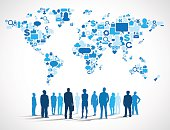 Business People with World Social Media Map