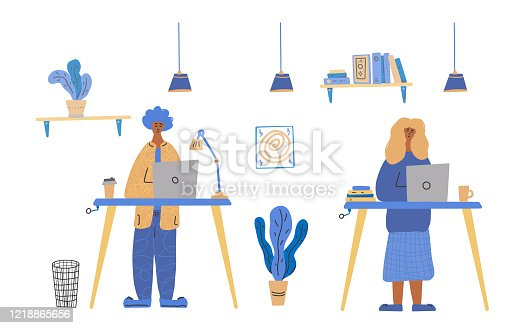 istock Business people work at a table. Vector concept. 1218865656