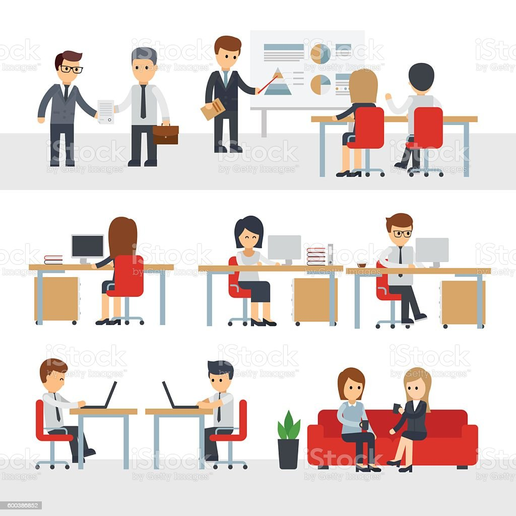 Business People Work At Office Vector Cartoon Character ...