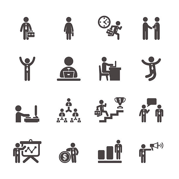 business people working action icon set, vector eps10 - 時代 幅插畫檔、美工圖案、卡通及圖標