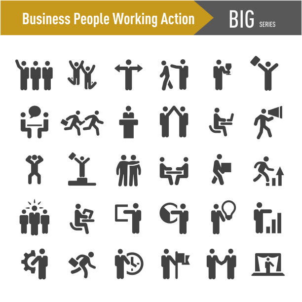 Business People Working Action Icons - Big Series Business, People, Working, Action, stability stock illustrations