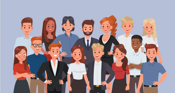 사무실 문자 벡터 디자인에서 일하는 비즈니스 사람들. - 단정한 사무복 stock illustrations