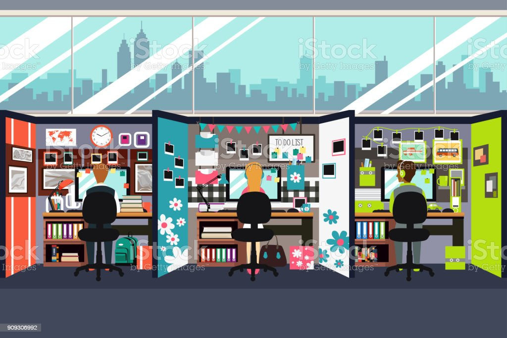 Business People Working in Office Cubicles Illustration vector art illustration