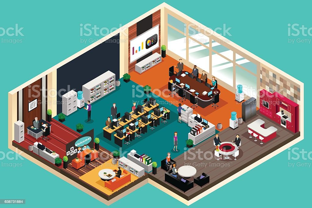 Business People Working in the Office in Isometric Style vector art illustration