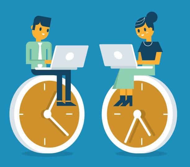 Business People working on clock vector art illustration