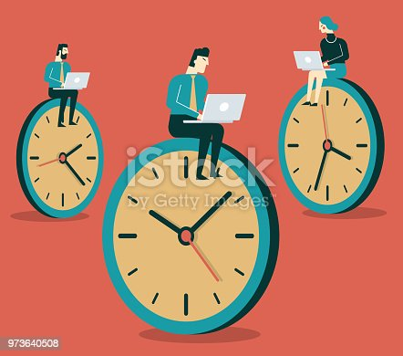 Business concept of time management and procrastination