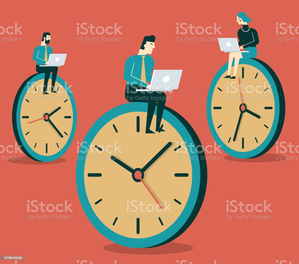 Business People working on clock vector art illustration