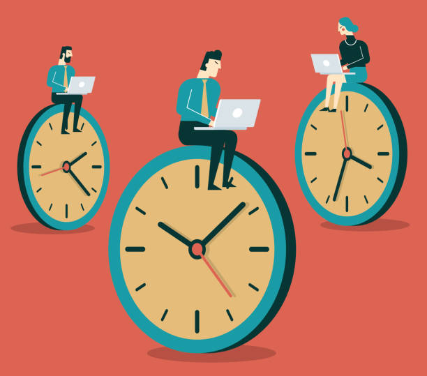 Business People working on clock Business concept of time management and procrastination overworked stock illustrations