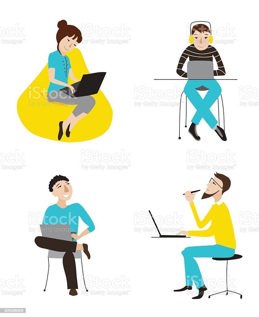 Business people working on laptops vector set vector art illustration