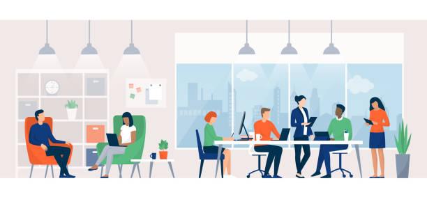 コワーキングスペースで一緒に働くビジネスマン - オフィス点のイラスト素材/クリップアート素材/マンガ素材/アイコン素材