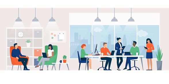 Ilustración de Empresarios Trabajando Juntos En Un Espacio De Coworking y más Vectores Libres de Derechos de Adulto