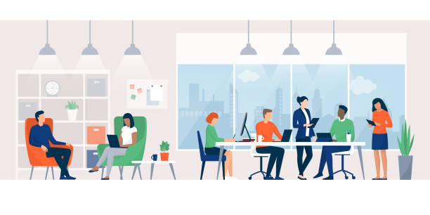 illustrazioni stock, clip art, cartoni animati e icone di tendenza di business people working together in a coworking space - lavoro