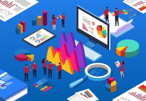 Business people working vector art illustration