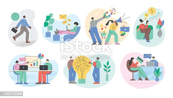 Set of various office people working on different tasks.  Fully editable vectors for multiple purposes.