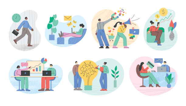 business people working - diversity stock illustrations