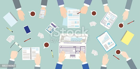 Business people workplace top angle above view sitting at office desk work vector illustration flat design