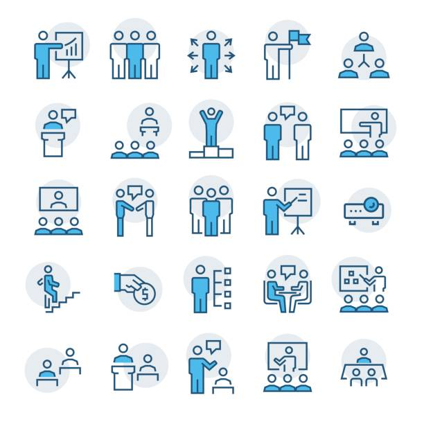 Business people,presentation,training icon set in thin line style. Vector symbols. vector art illustration