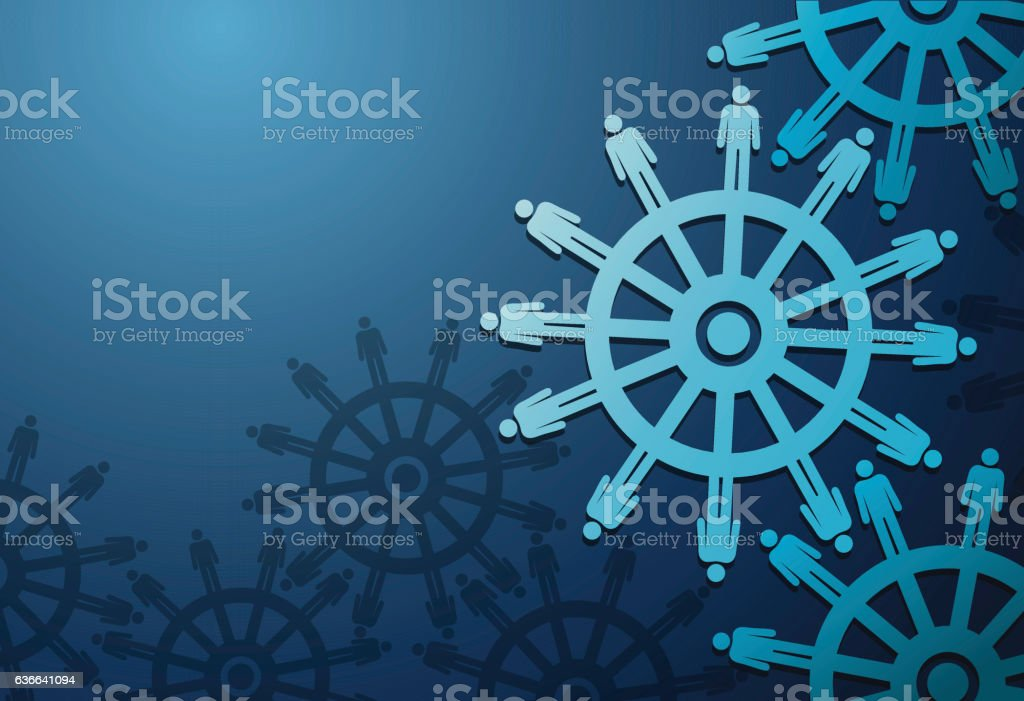 Business Peoples and cogwheels on blue background vector art illustration