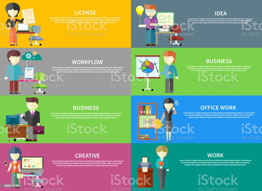 Set of peoples office professions on banners. Concepts of license,...