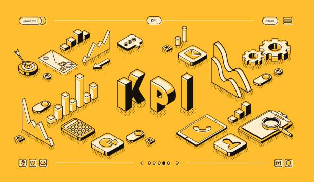 KPI business performance vector isometric halftone vector art illustration