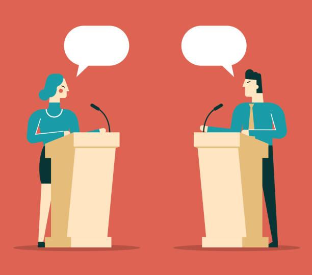 ilustrações, clipart, desenhos animados e ícones de pessoa de negócios, um falando no pódio - político
