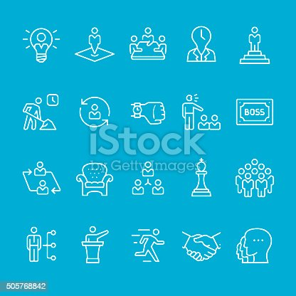 Business Person and Corporate Hierarchy, stroke vector icons kit.