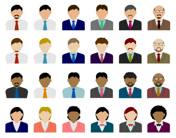 illustrazioni stock, clip art, cartoni animati e icone di tendenza di business person avatar illustration set - business man