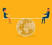 Businessman and businesswoman balanced on seesaw over globe. Concept business vector illustration.