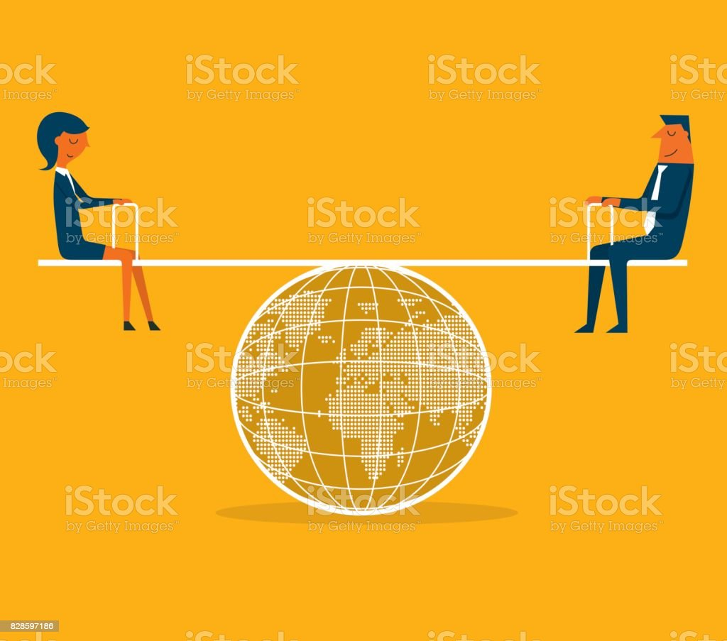 Business Person balanced on seesaw vector art illustration