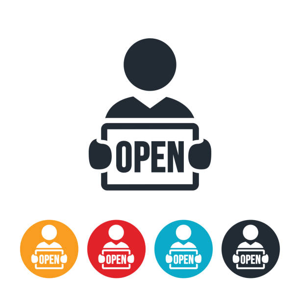 business person holding open sign icon - small business owner stock illustrations