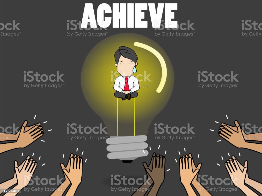 Business Person In Idea Light Bulb And Graph Royalty Free