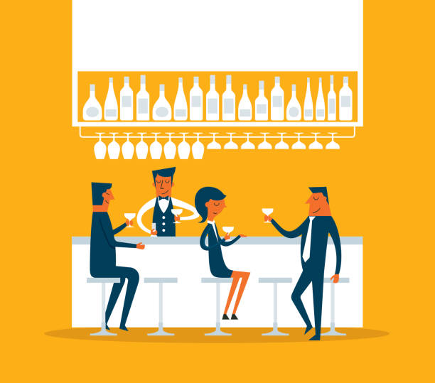 Business person in pub vector art illustration