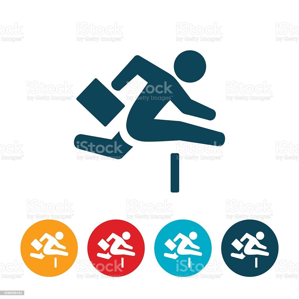 Business Person Jumping Hurdle vector art illustration