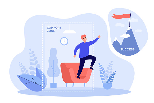 Business person leaving comfort zone