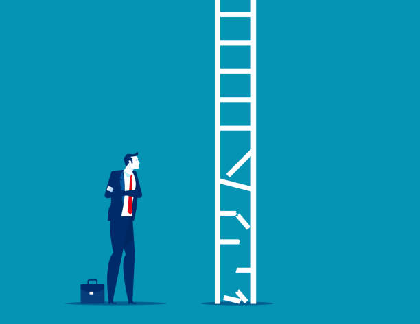 Business person look at broken ladder. Obstacle Business concept vector art illustration