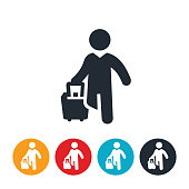 istock Business Person Pulling Luggage Icon 1018351776