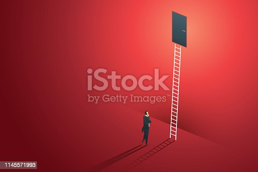 Business person standing thinking looks at door on wall red up path ladder to goal success. illustration Vector