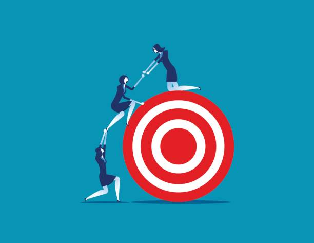 Business person team work towards the target. Concept business vector illustration. vector art illustration