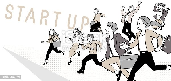 istock Business person to jump_office casual 1302264975
