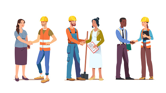 Business person woman shaking hand closing deal with contractor worker or foreman wearing hard hat. Commercial construction building agreement. Contract handshake with builder man. Flat vector illustration