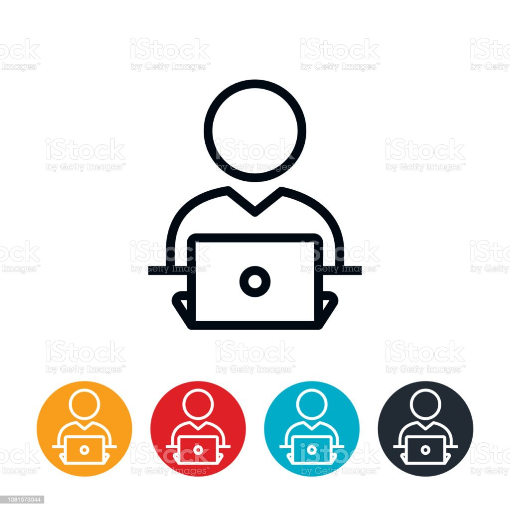 Business Person Working at Laptop Icon vector art illustration