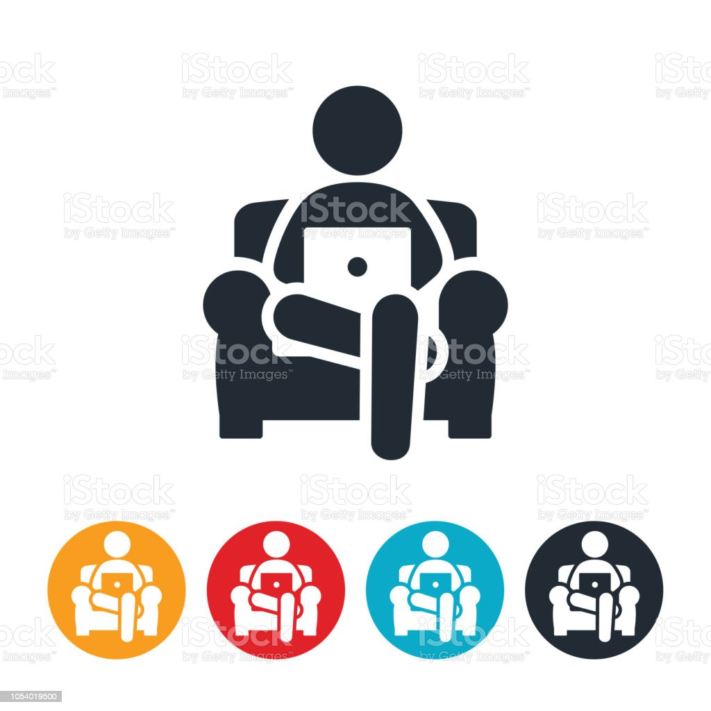 Business Person Working From Home Icon vector art illustration