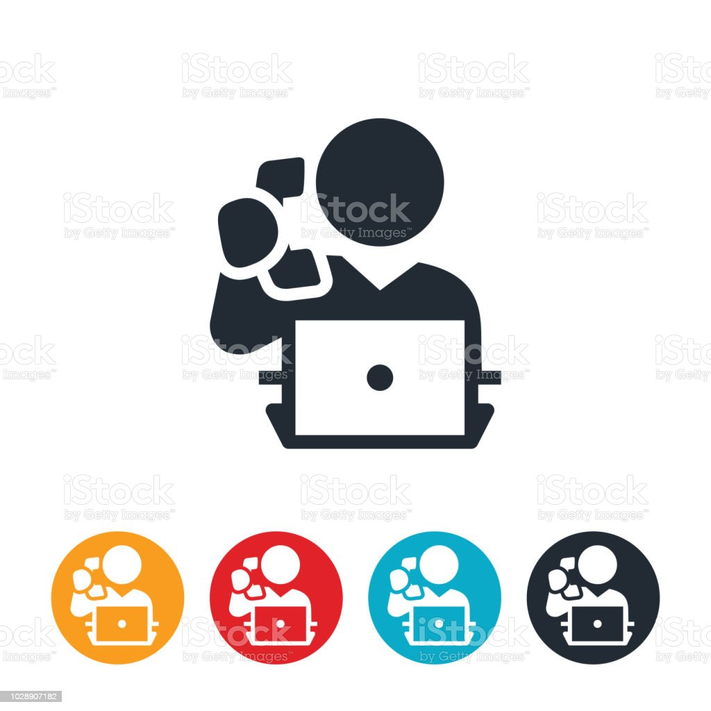 Business Person Working on Computer While Talking On Phone Icon vector art illustration