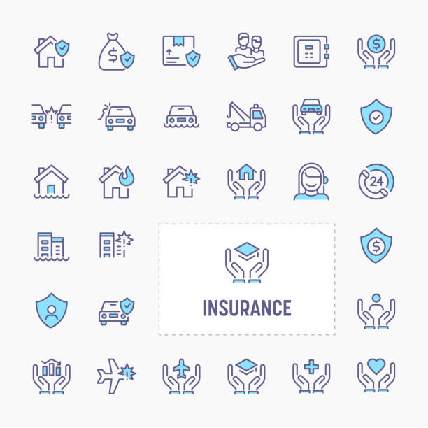 business & personal insurance icon set - insurance stock illustrations