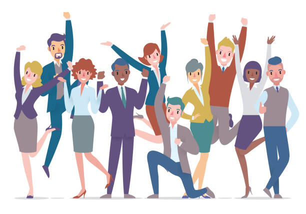 business persons group celebrating vector art illustration