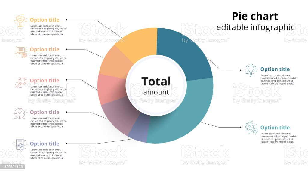 Business pie chart infographics with editable segments. Ceirlce corporate infograph elements. Company presentation slide template. Modern vector info graphic layout design. vector art illustration