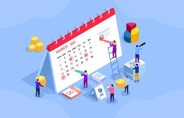 bildbanksillustrationer, clip art samt tecknat material och ikoner med affärs plan och schema, team, skriv bords kalender - calendar workout