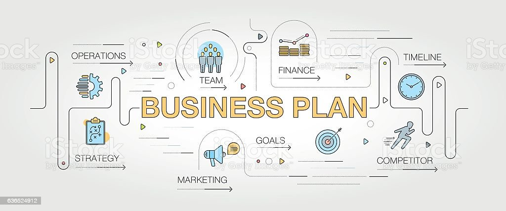 Business Plan banner and icons vector art illustration