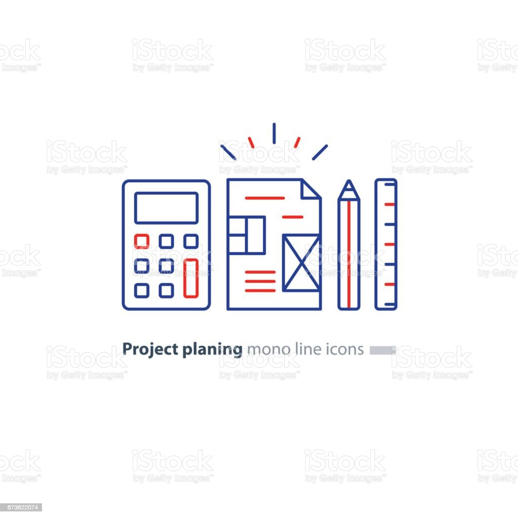 Business plan concept design blueprint calculator pencil and ruler business plan concept design blueprint calculator pencil and ruler icons royalty free business malvernweather Images